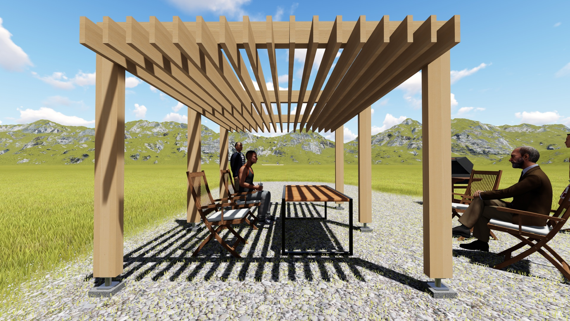 Pergola contemporaine 1 for Exemple de pergola en bois